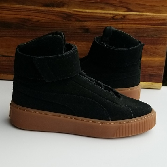 Puma Black Suede High Top Lace Up Velcro Sneakers Shoes